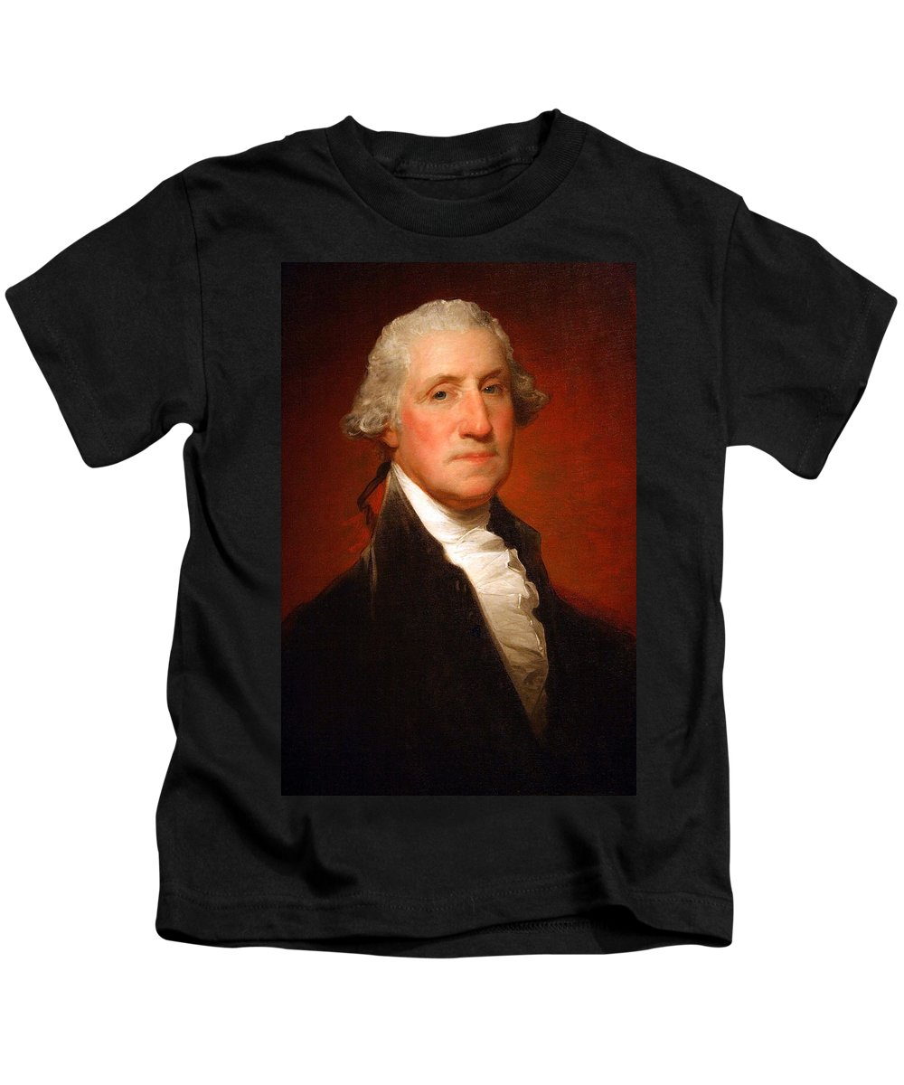 George Washington Kids T-Shirt featuring the photograph George Washington By Gilbert Stuart -- 2 by Cora Wandel