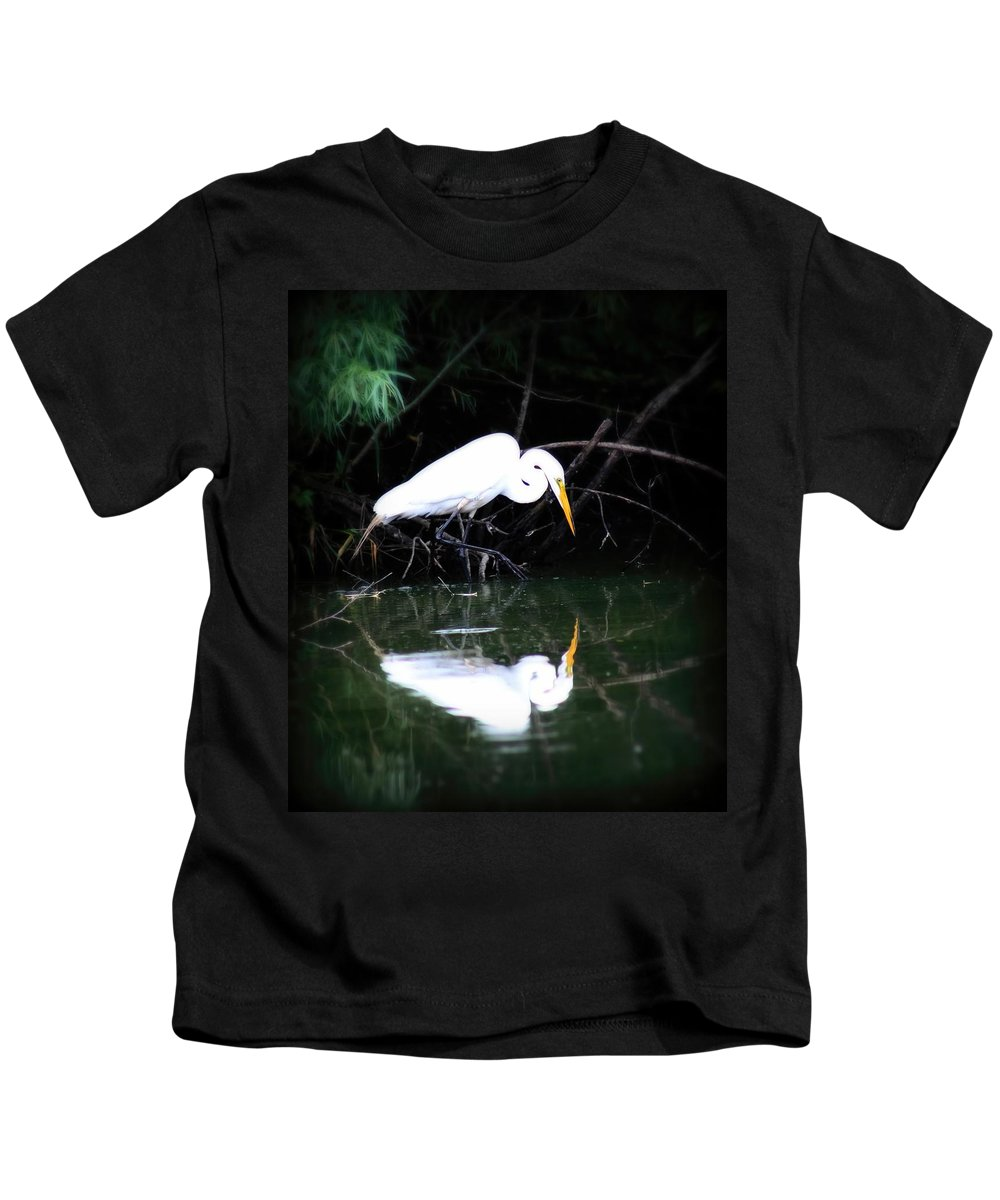 Bird Kids T-Shirt featuring the photograph Great White Egret by Amanda Stadther