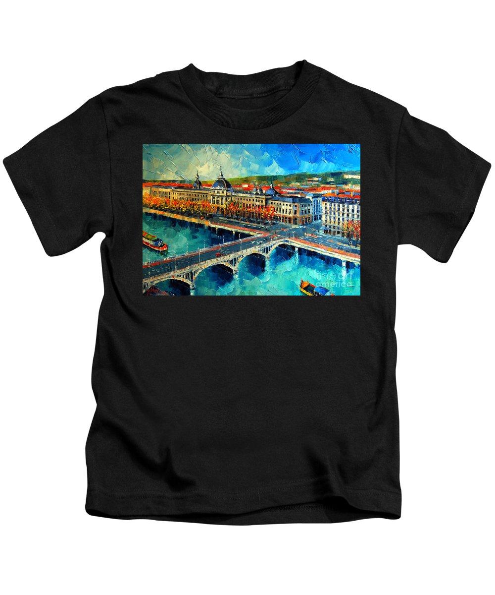 Hotel-dieu De Lyon Kids T-Shirt featuring the painting Hotel Dieu De Lyon by Mona Edulesco