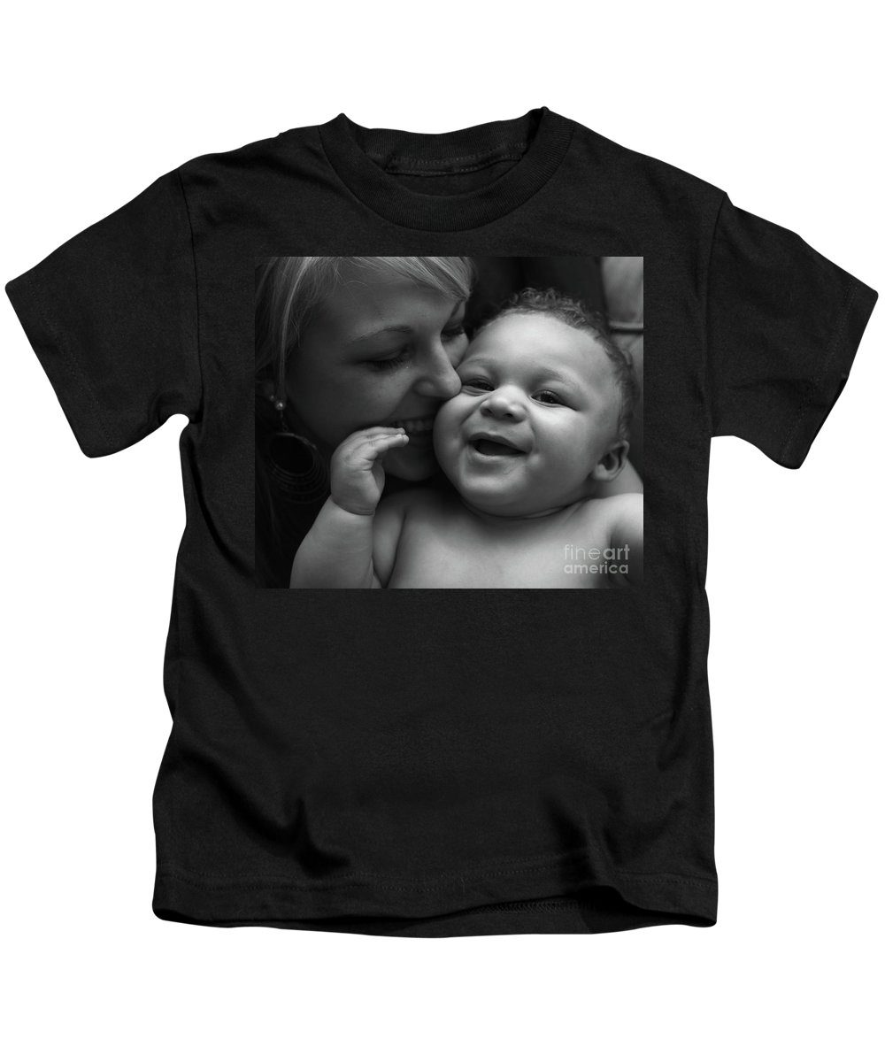 Black And White Kids T-Shirt featuring the photograph Joy by Nadine Rippelmeyer
