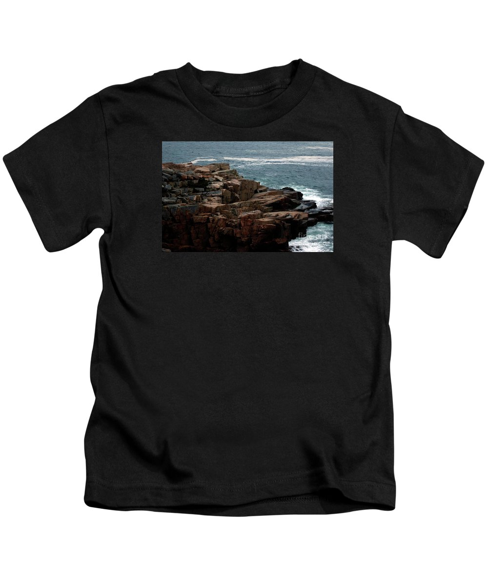 Maine Kids T-Shirt featuring the photograph Maine Seascape by Kathleen Struckle
