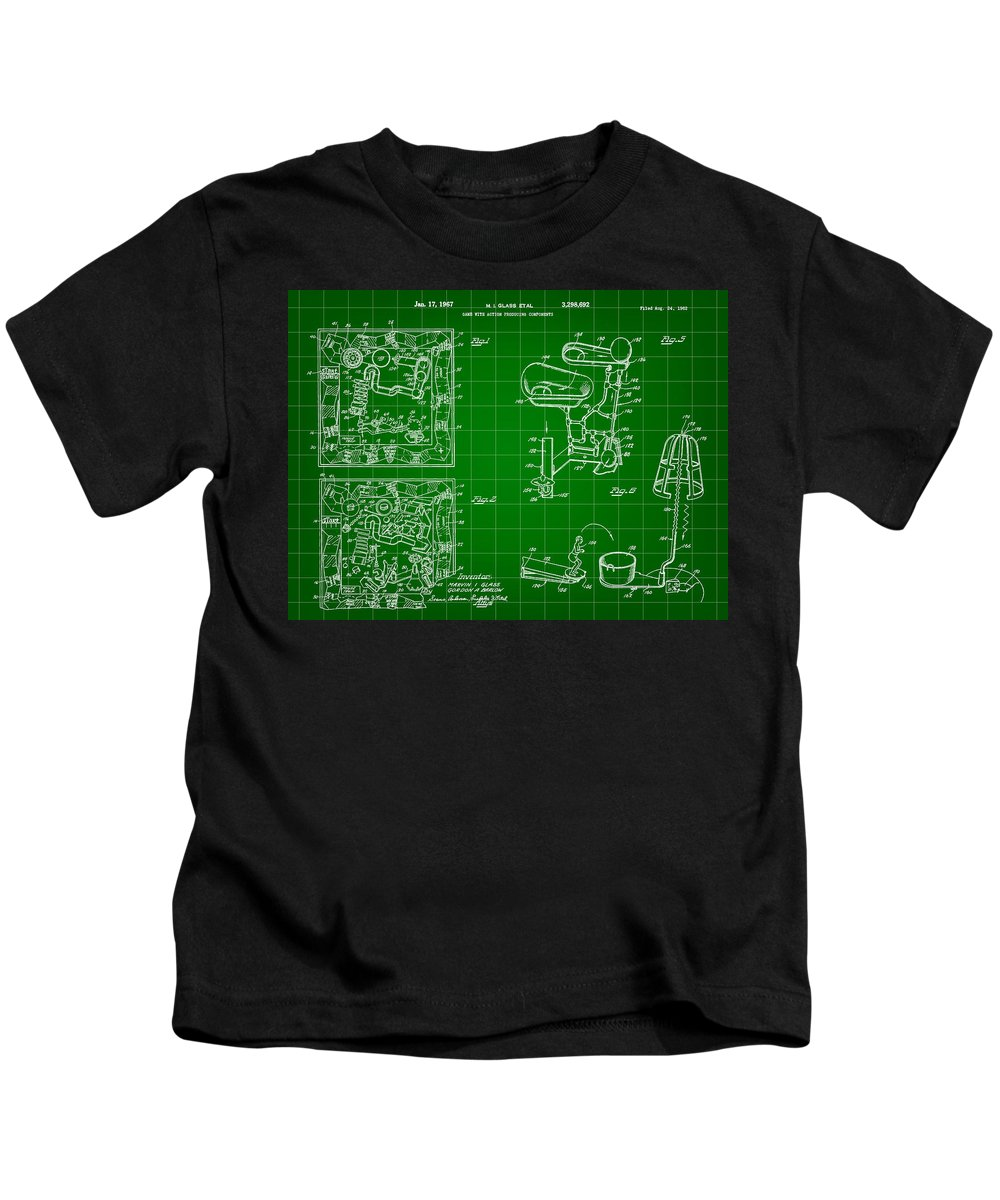 Mouse Trap Kids T-Shirt featuring the digital art Mouse Trap Board Game Patent 1962 - Green by Stephen Younts