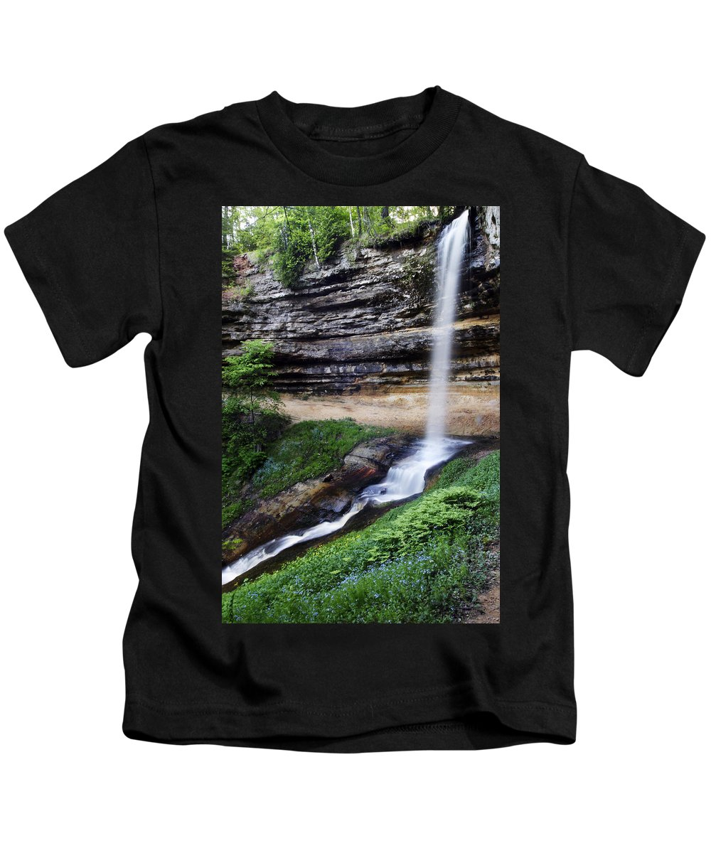 3scape Kids T-Shirt featuring the photograph Munising Falls by Adam Romanowicz