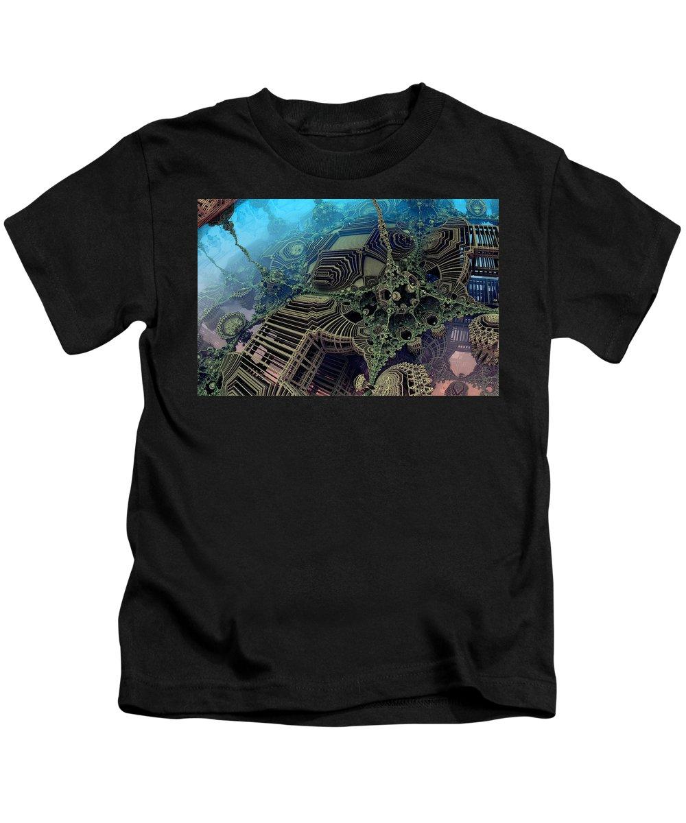Fractal Kids T-Shirt featuring the digital art Parallel World by Evgeniy Lankin