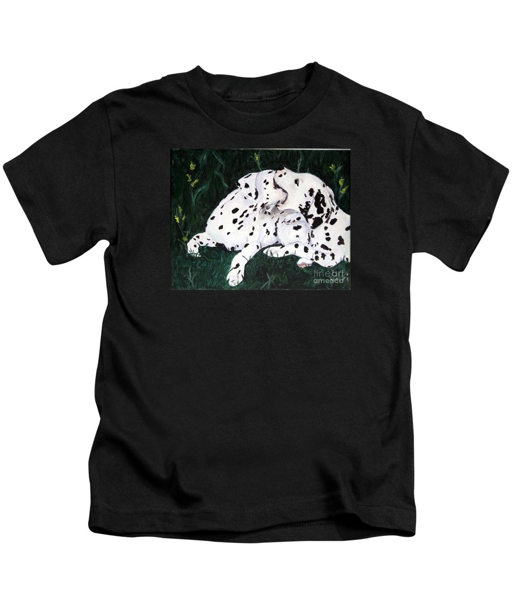 Dogs Kids T-Shirt featuring the painting Playful Pups by Jacki McGovern