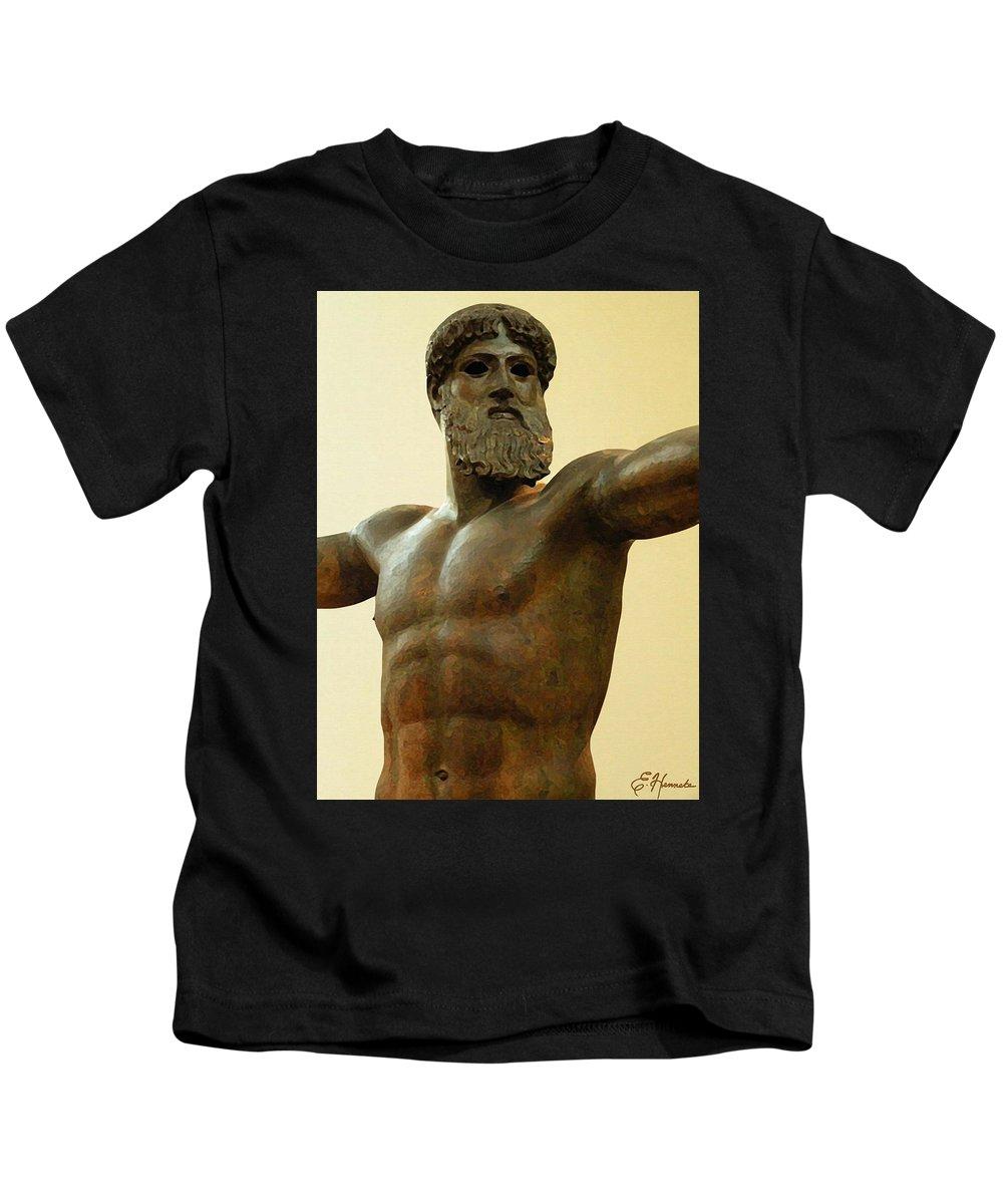 Poseidon Kids T-Shirt featuring the painting Poseidon by Ellen Henneke
