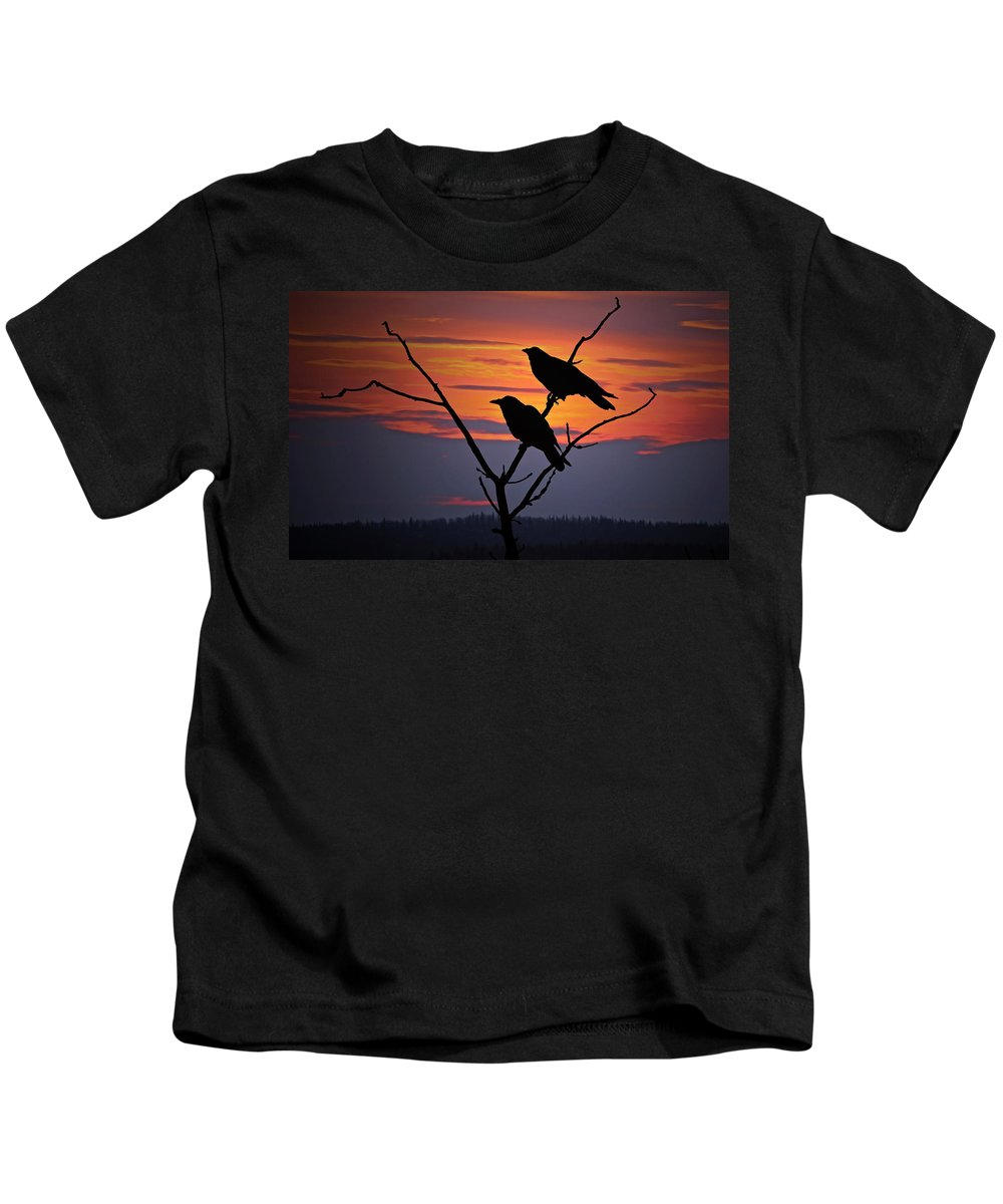Raven Kids T-Shirt featuring the photograph 2 Ravens by Ron Day