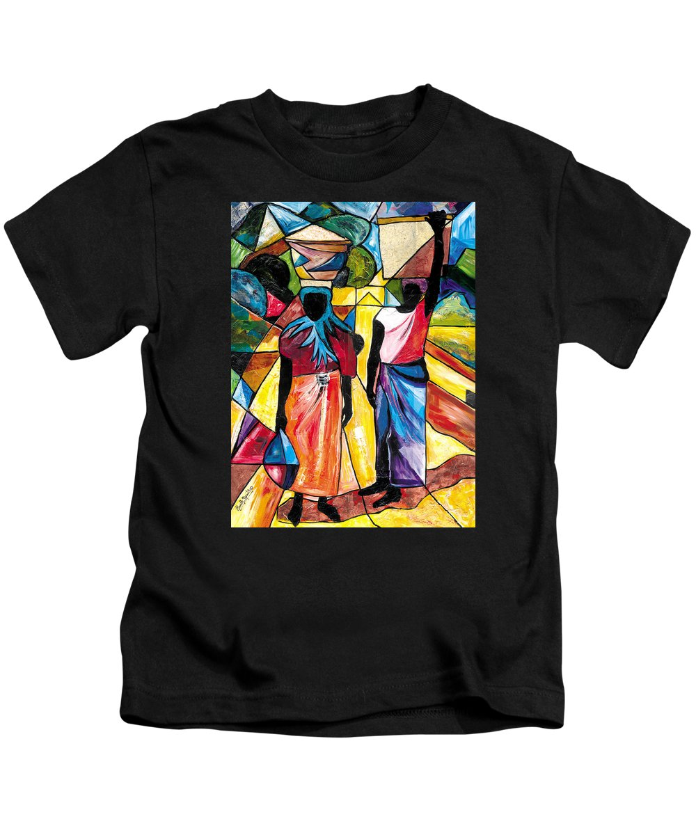 Everett Spruill Kids T-Shirt featuring the painting Road to the Market by Everett Spruill