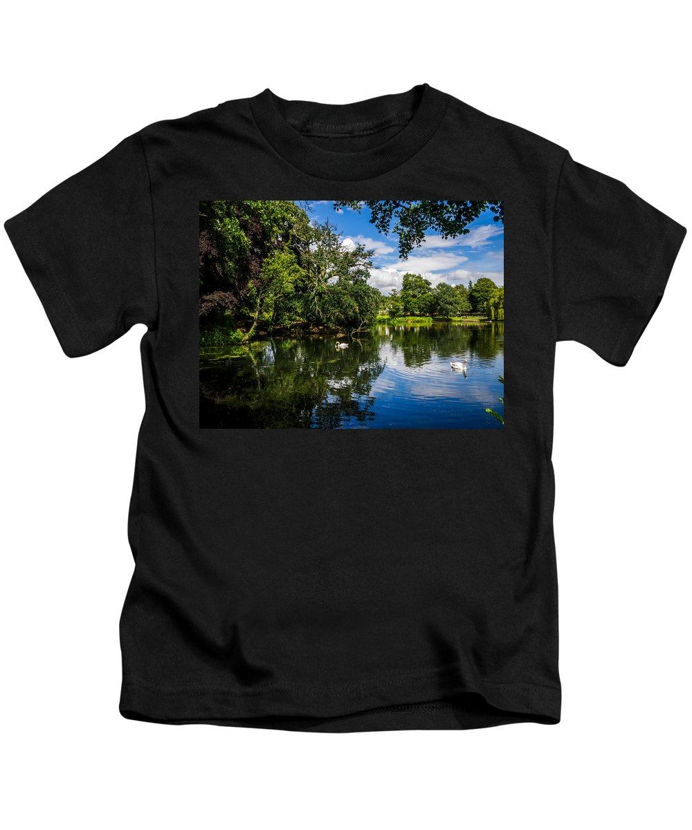 Roath Park Kids T-Shirt featuring the photograph Roath Park Lake by Mark Llewellyn