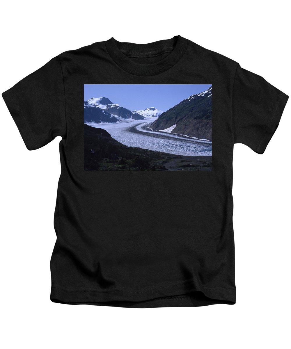 Alaska Kids T-Shirt featuring the photograph Salmon Glacier by Roderick Bley