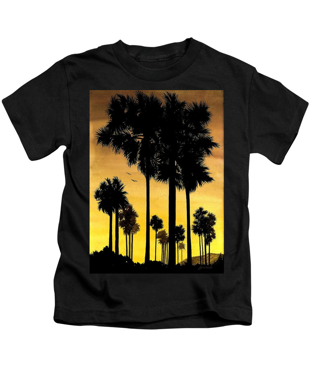 San Diego Sunset Kids T-Shirt featuring the painting San Diego Sunset by Larry Lehman