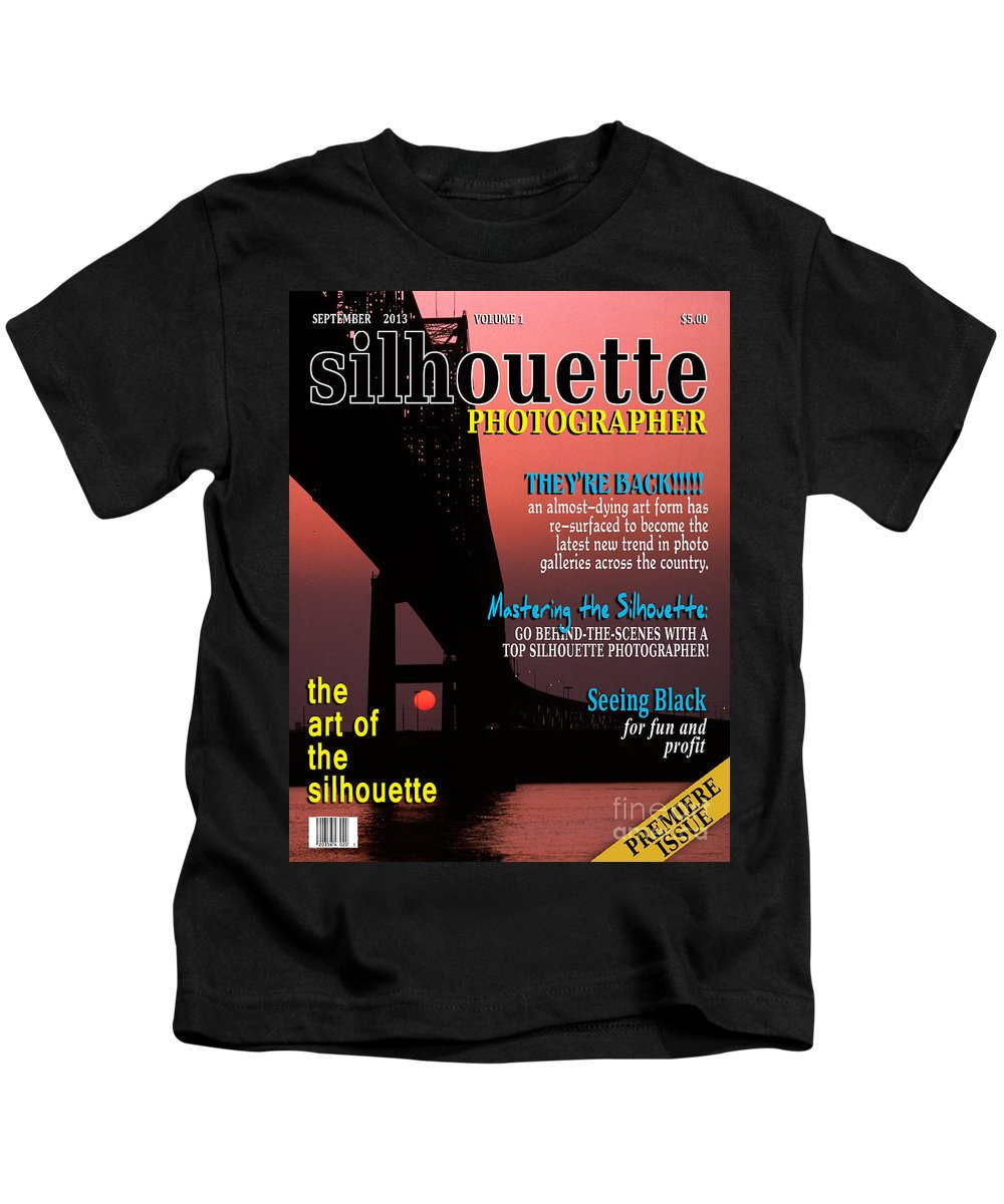 Silhouette Kids T-Shirt featuring the photograph Silhouette Photographer Faux Magazine Cover by Mike Nellums