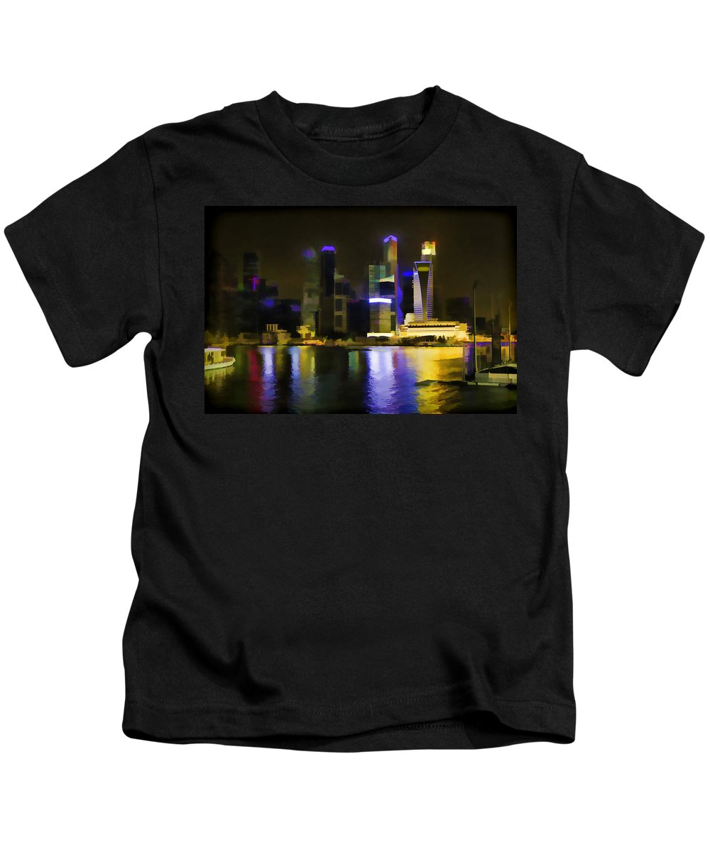 Action Kids T-Shirt featuring the photograph Singapore Skyline As Seen From The Pedestrian Bridge by Ashish Agarwal