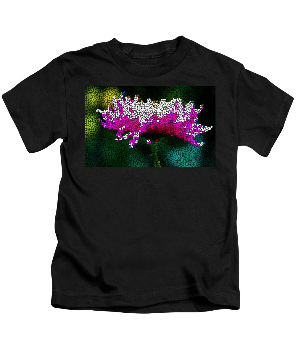 Stained Glass Pink Chrysanthemum Flower Kids T-Shirt featuring the painting Stained Glass Pink Chrysanthemum Flower by Jeelan Clark