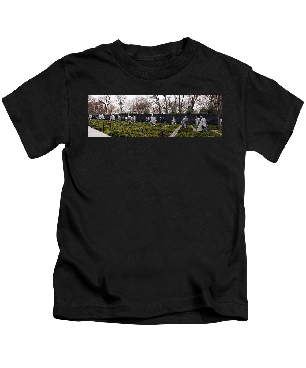 Photography Kids T-Shirt featuring the photograph Statues Of Soldiers At A War Memorial by Panoramic Images