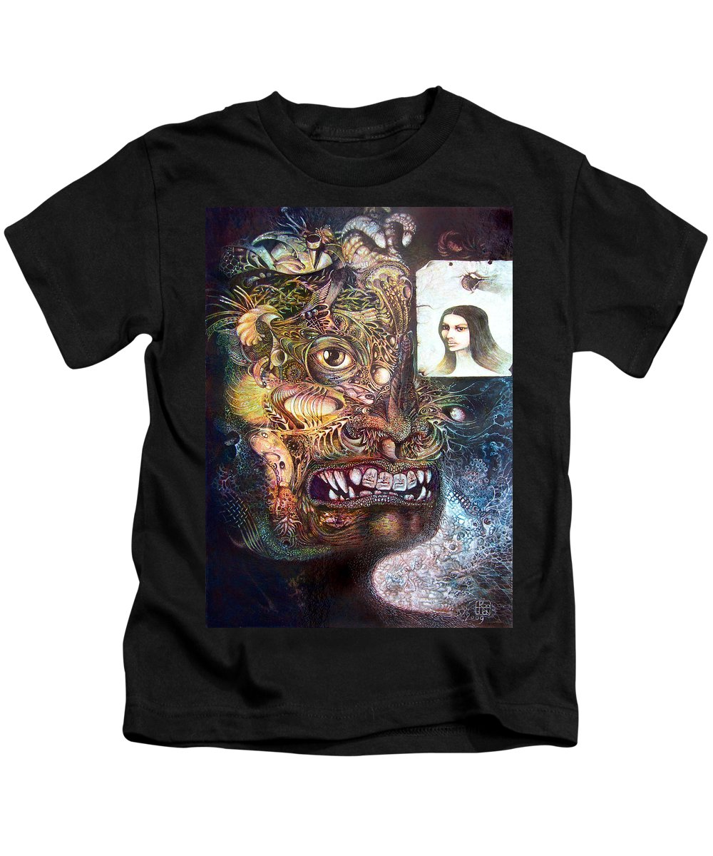 Mythology Kids T-Shirt featuring the painting The Beast Of Babylon by Otto Rapp