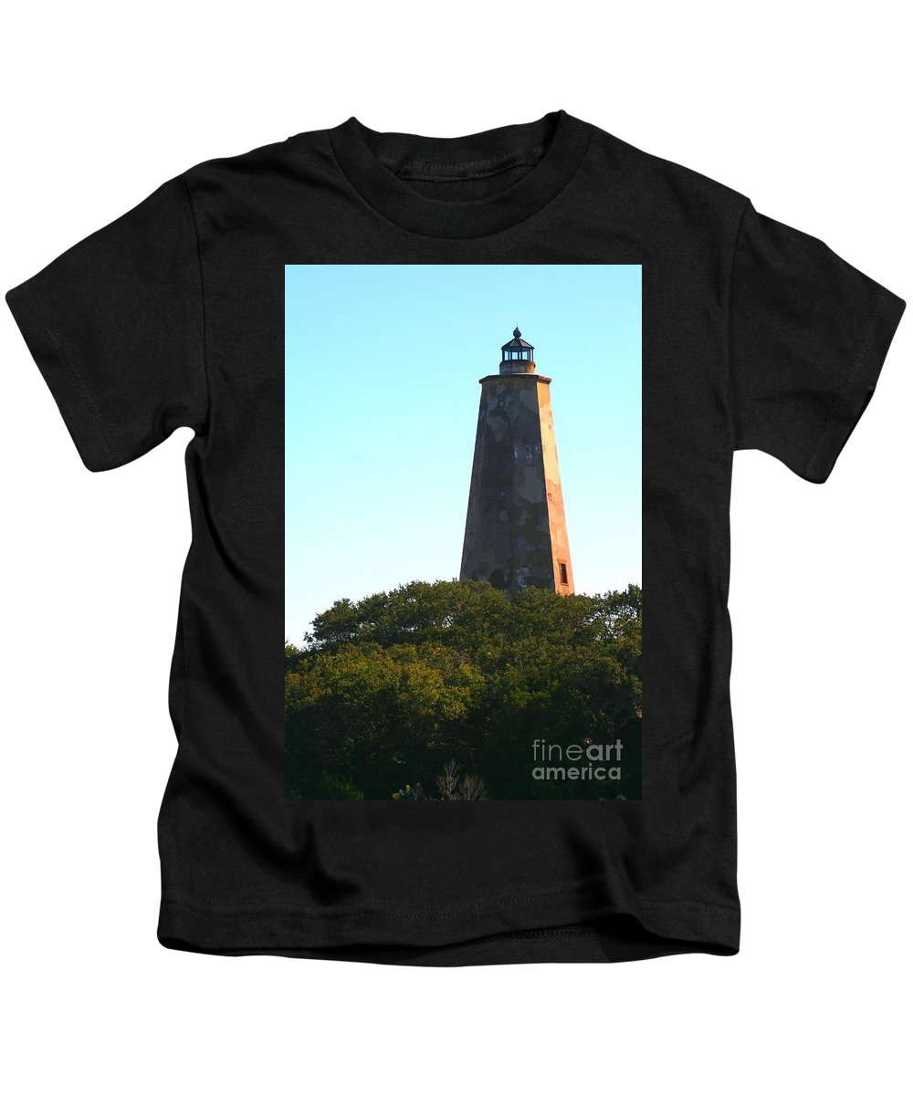 Lighthouse Kids T-Shirt featuring the photograph The Lighthouse by Nadine Rippelmeyer