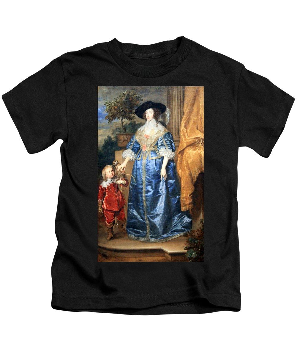 Queen Henrietta Maria With Sir Jeffrey Hudson Kids T-Shirt featuring the photograph Van Dyck's Queen Henrietta Maria With Sir Jeffrey Hudson by Cora Wandel