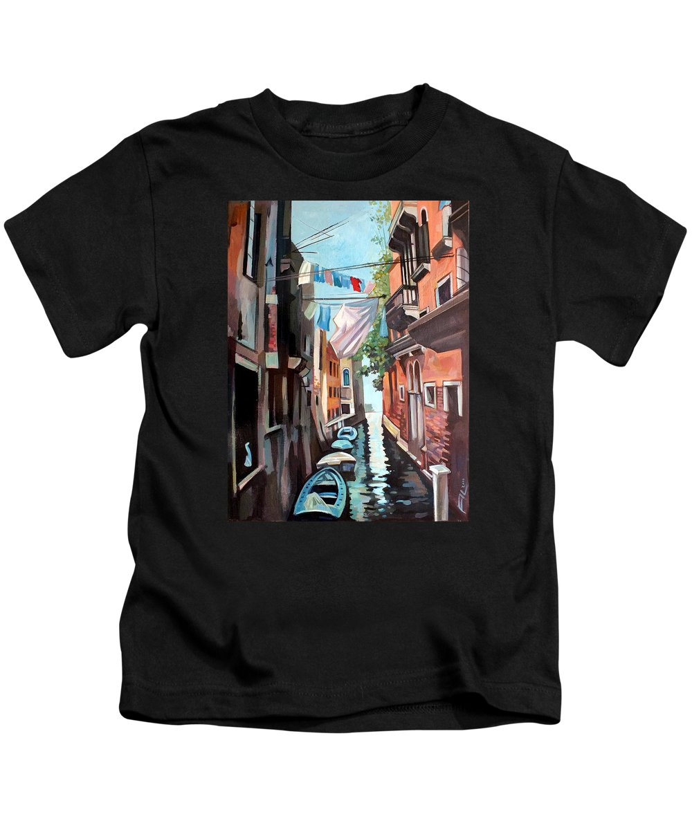 Cityscape Kids T-Shirt featuring the painting Venetian Channel 2 by Filip Mihail