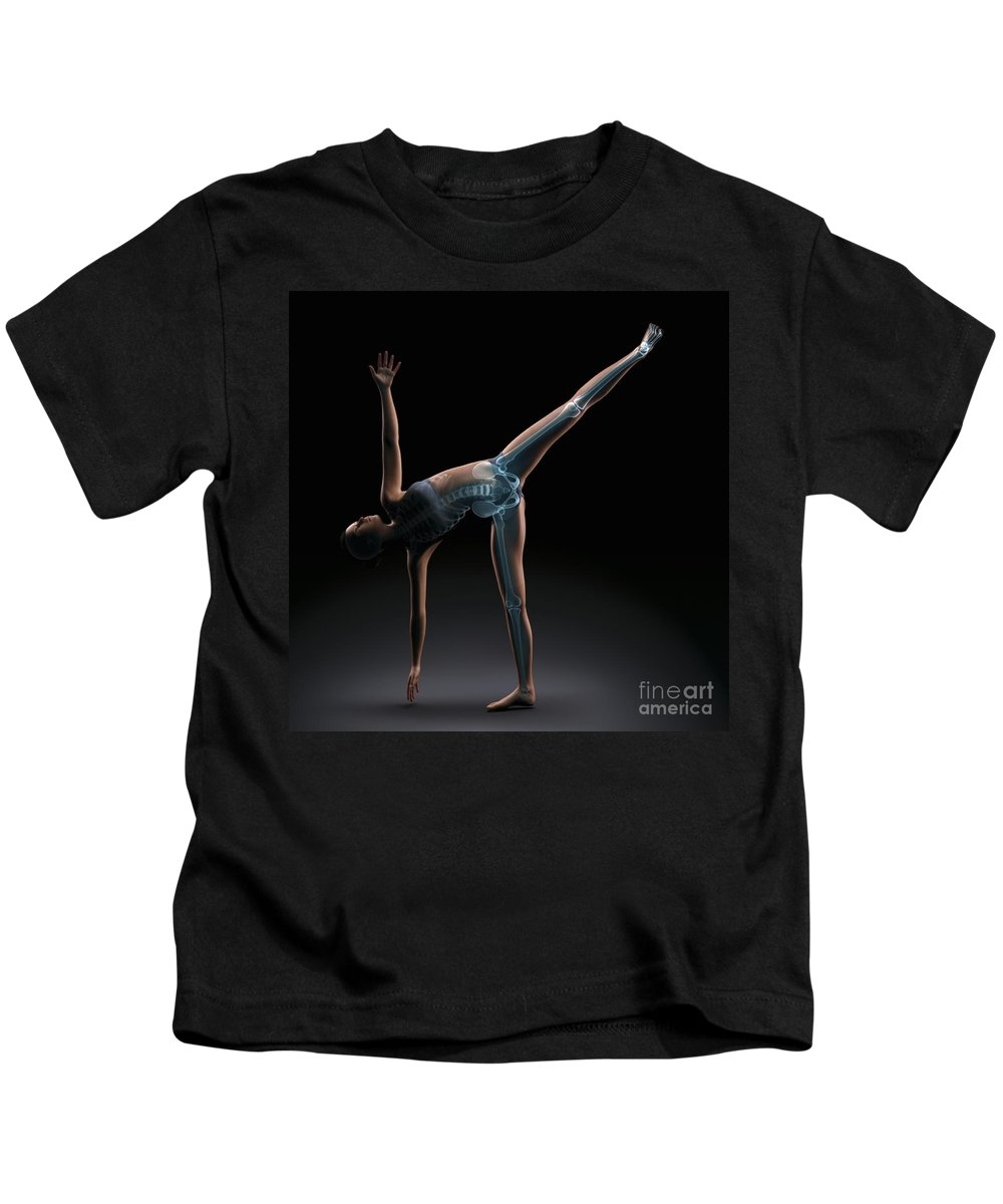 Transparency Kids T-Shirt featuring the photograph Yoga Half Moon Pose by Science Picture Co