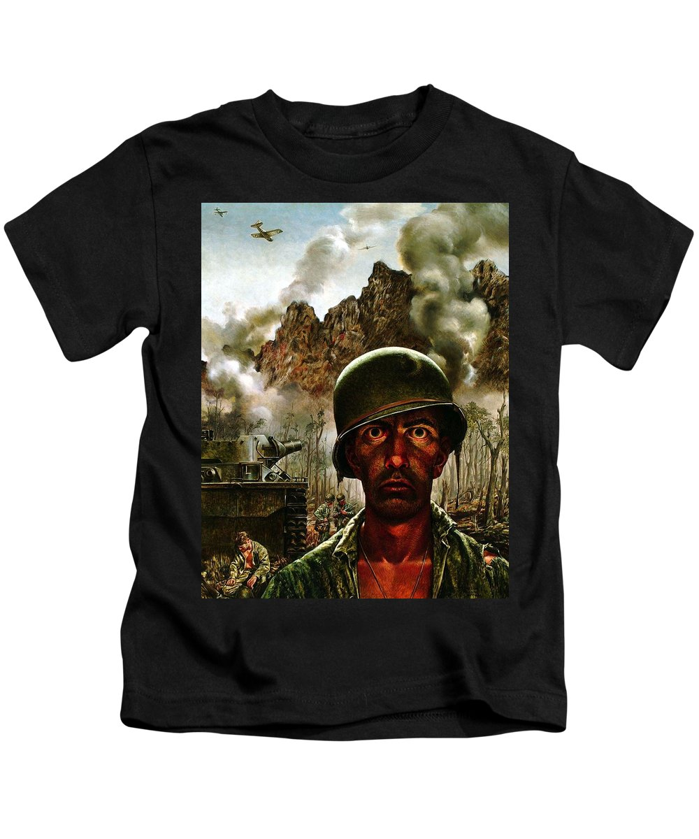 World War Ii Kids T-Shirt featuring the painting 2000 Yard Stare by Mountain Dreams