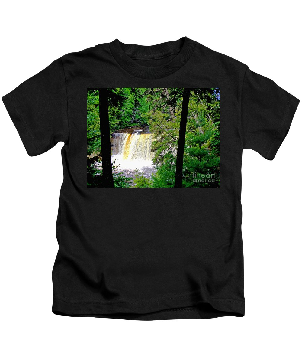 Michigan Kids T-Shirt featuring the photograph Tahquamenon Falls by Elizabeth Stone