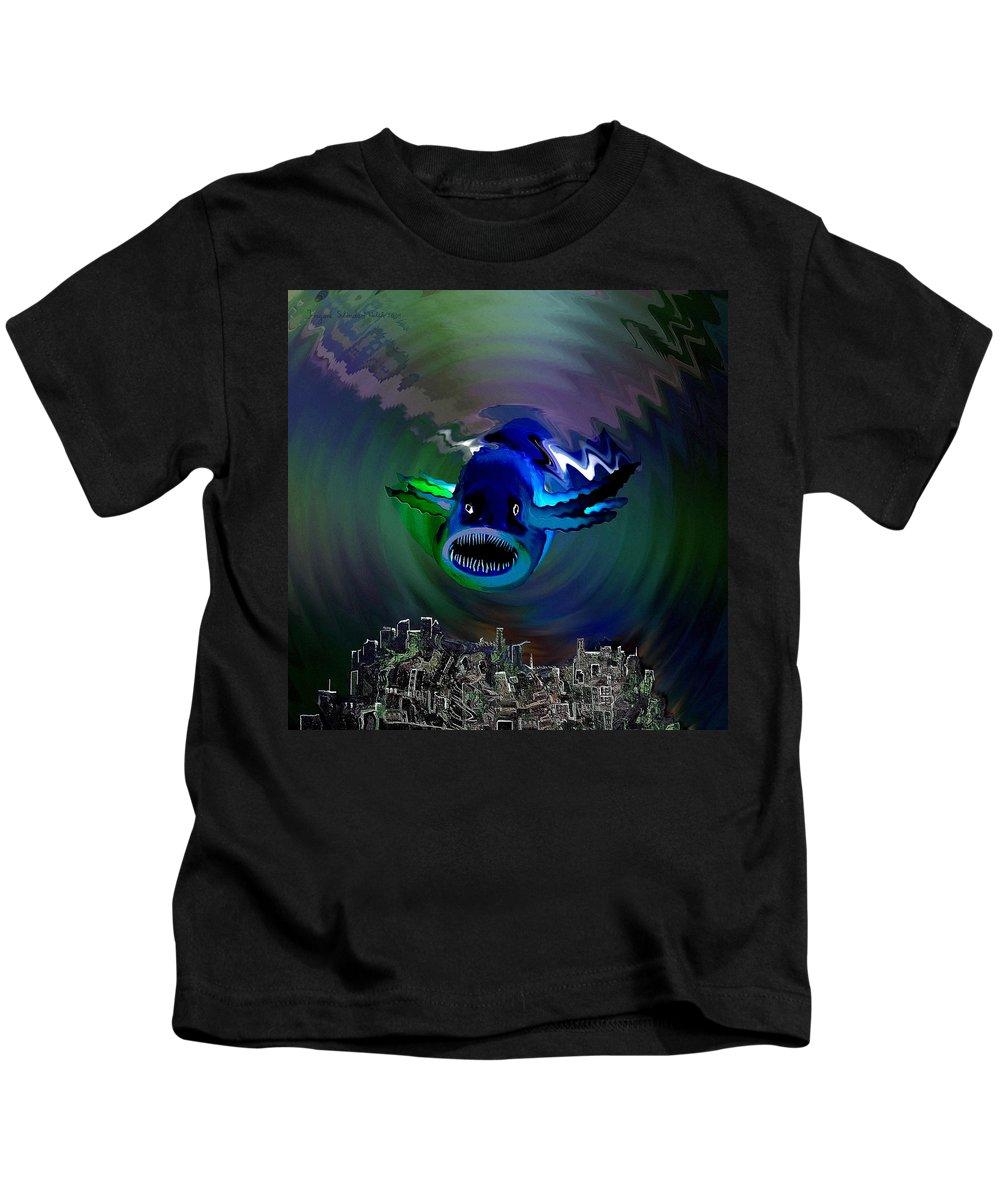 Atlantis Kids T-Shirt featuring the digital art 278 -  The Custodian Of Atlantis by Irmgard Schoendorf Welch