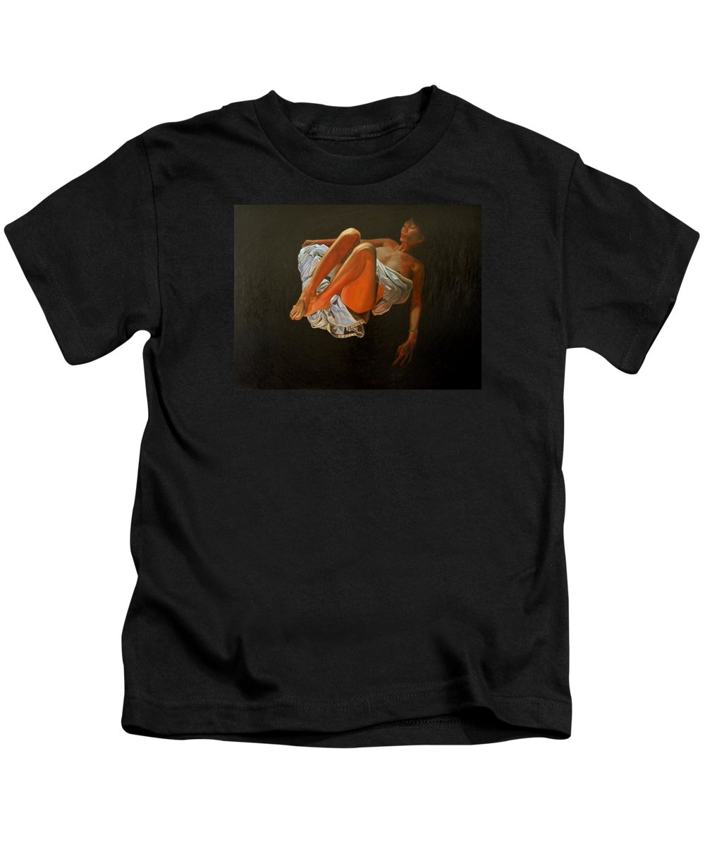 Oil-painting Kids T-Shirt featuring the painting 3 30 Am by Thu Nguyen