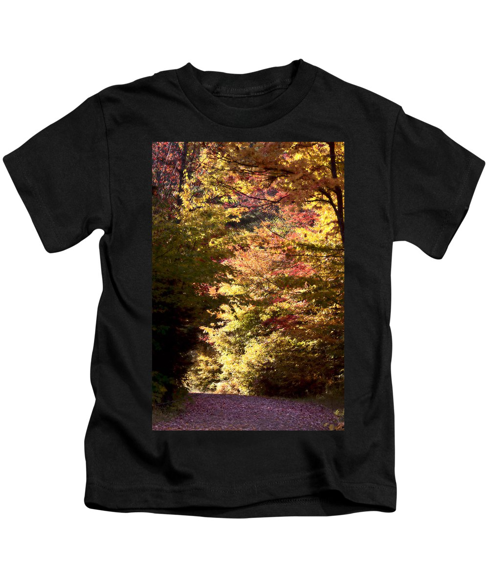 Yellow Kids T-Shirt featuring the photograph Autumn Colors And Road by Mark Duffy