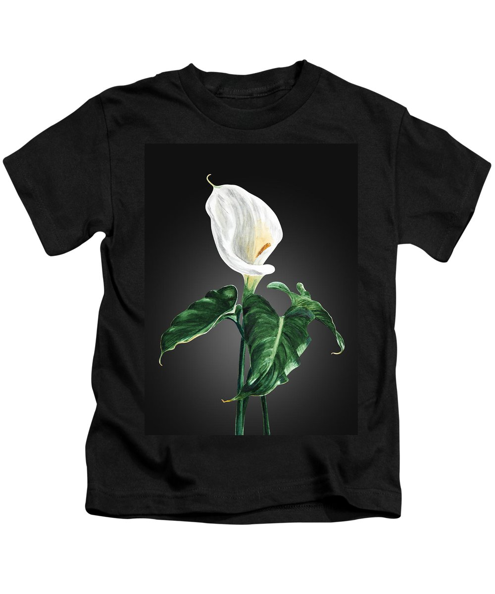 Flowers Kids T-Shirt featuring the painting Calla by Masha Batkova