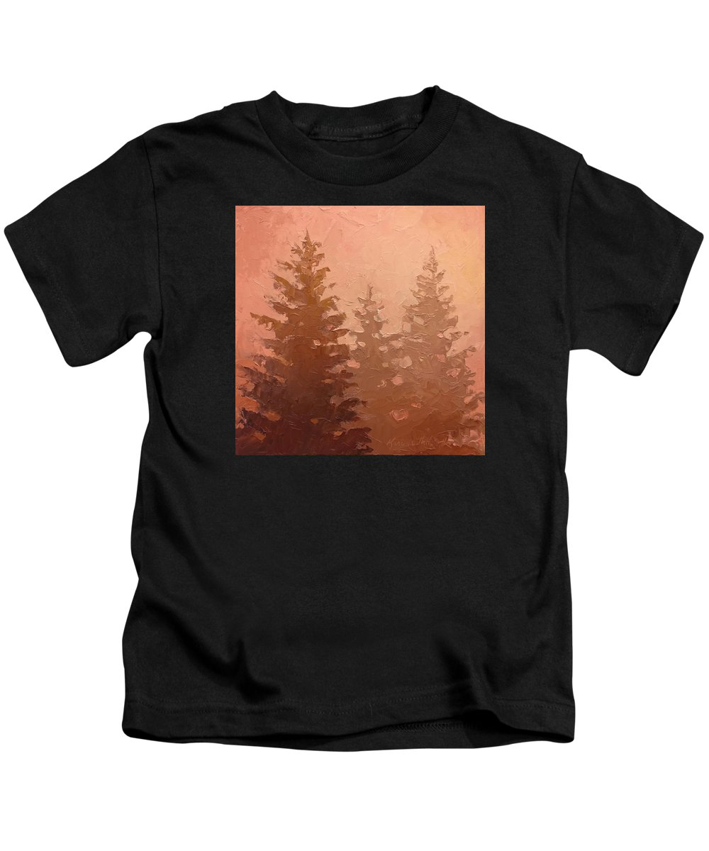 Tree Kids T-Shirt featuring the painting 3 Cedars In The Fog No. 1 by Karen Whitworth