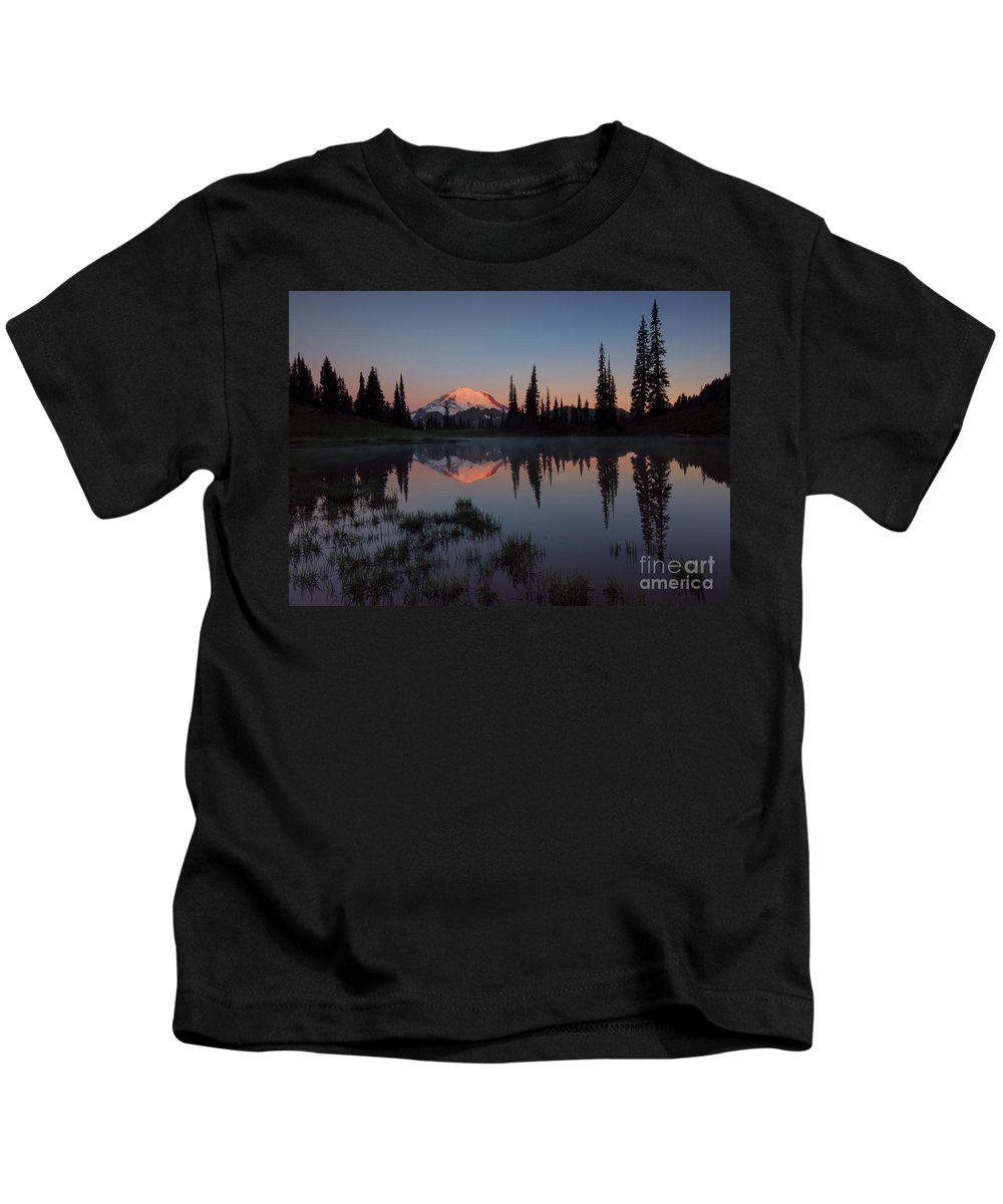 Mt. Rainier Kids T-Shirt featuring the photograph First Light by Mike Dawson