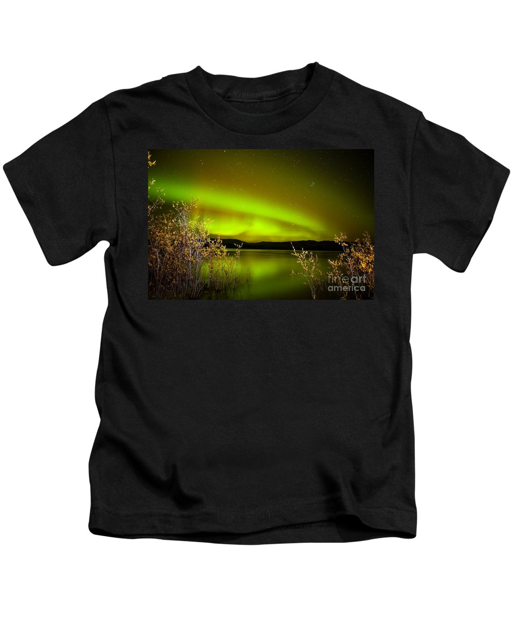Above Kids T-Shirt featuring the photograph Northern Lights Mirrored On Lake by Stephan Pietzko