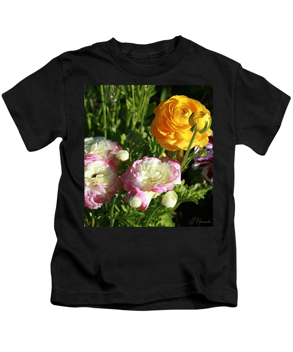 Ranunculus Kids T-Shirt featuring the painting Ranunculus 1 by Ellen Henneke