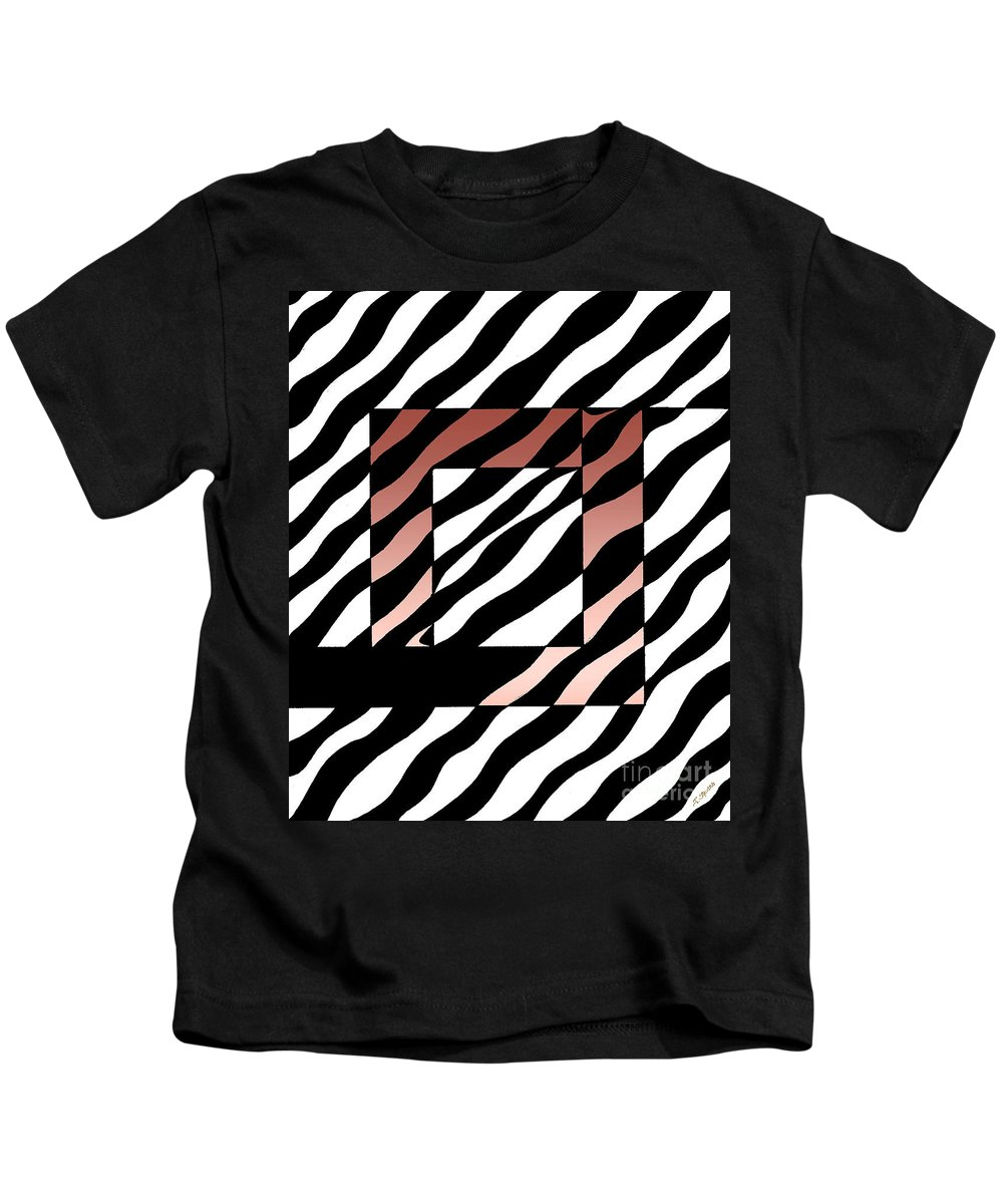 Pen And Ink Zebra Stripes Modern Graphic B&w. Modern Art Kids T-Shirt featuring the drawing 3 Squares With Ripples by Joseph J Stevens