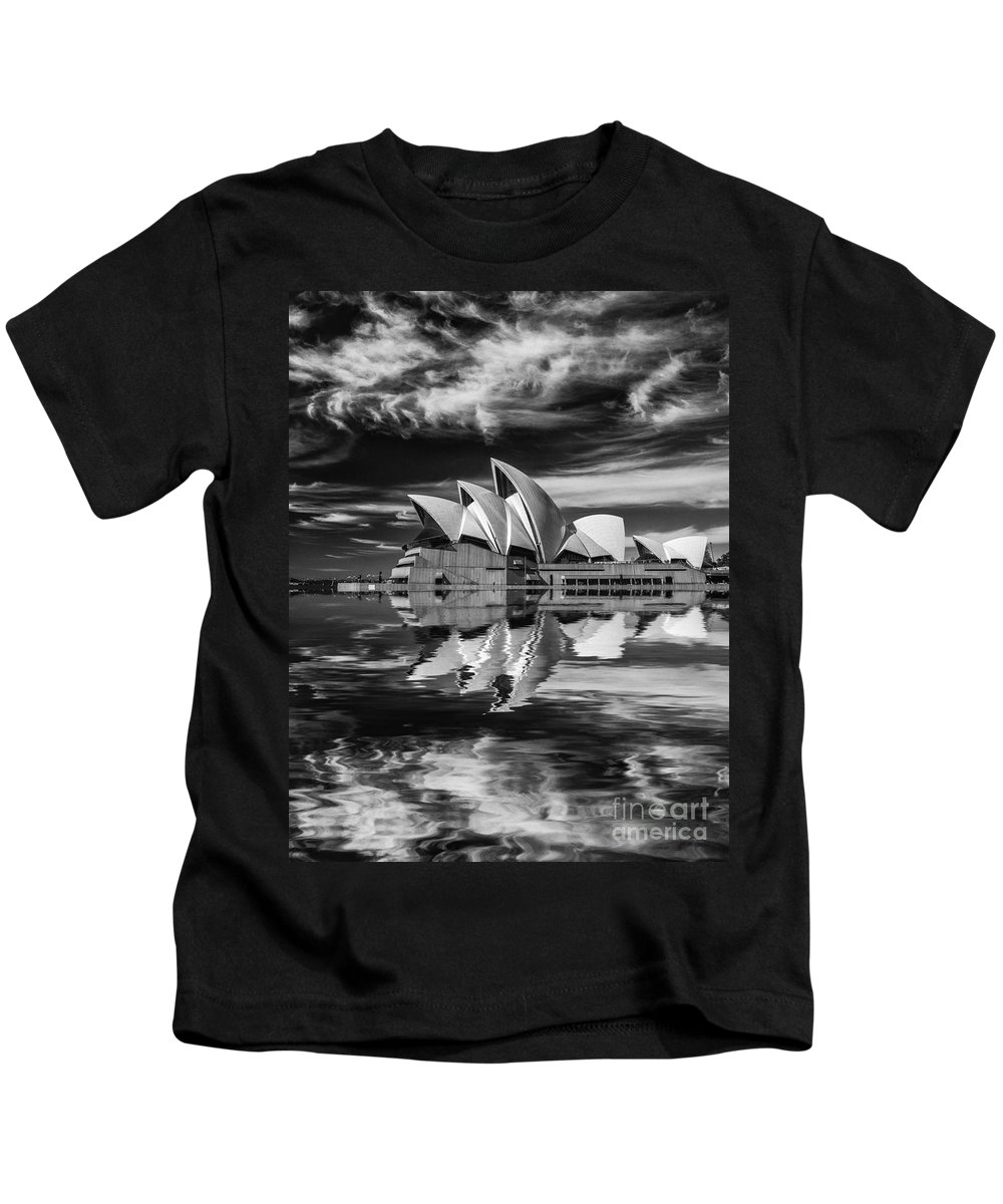 Sydney Opera House Kids T-Shirt featuring the photograph Sydney Opera House abstract by Sheila Smart Fine Art Photography
