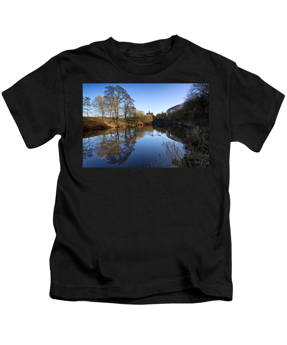 Warkworth Kids T-Shirt featuring the photograph Warkworth Castle by David Pringle