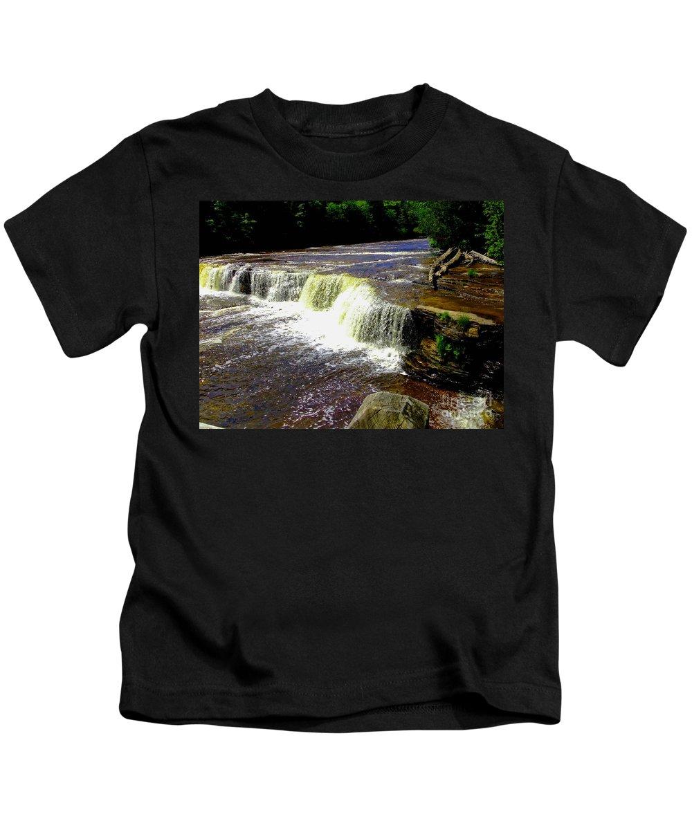 Michigan Kids T-Shirt featuring the photograph Tahquamenon Falls by Elizabeth Stone