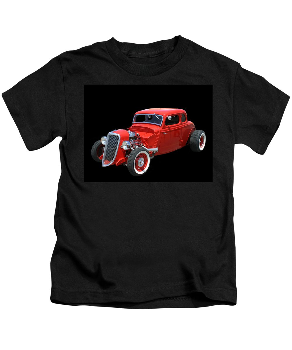 Classic Car Photography Kids T-Shirt featuring the photograph 34 Ford Coupe by Jack Pumphrey
