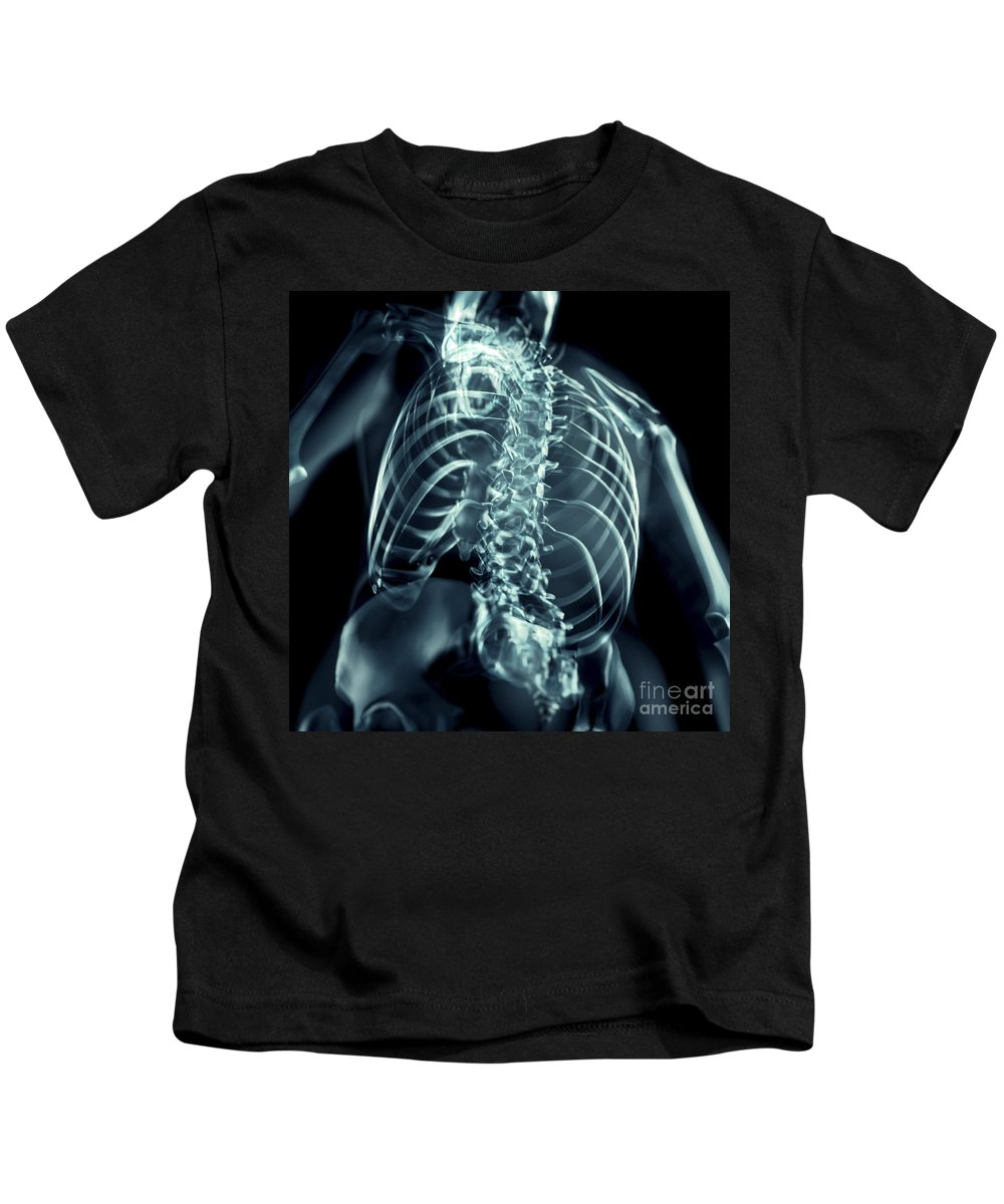 Lumbar Vertebrae Kids T-Shirt featuring the photograph Bones Of The Upper Body by Science Picture Co