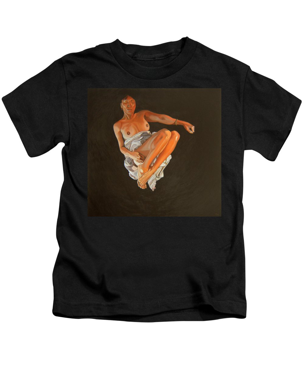 Semi-nude Kids T-Shirt featuring the painting 4 30 Am by Thu Nguyen