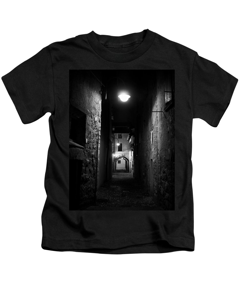 Francacorta Kids T-Shirt featuring the photograph Alley Of Melancholy. Iseo by Jouko Lehto