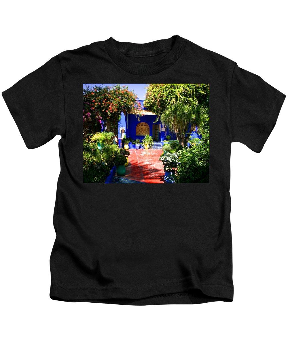 Majorelle Garden Kids T-Shirt featuring the photograph Majorelle Garden Marrakesh Morocco by Ralph A Ledergerber-Photography
