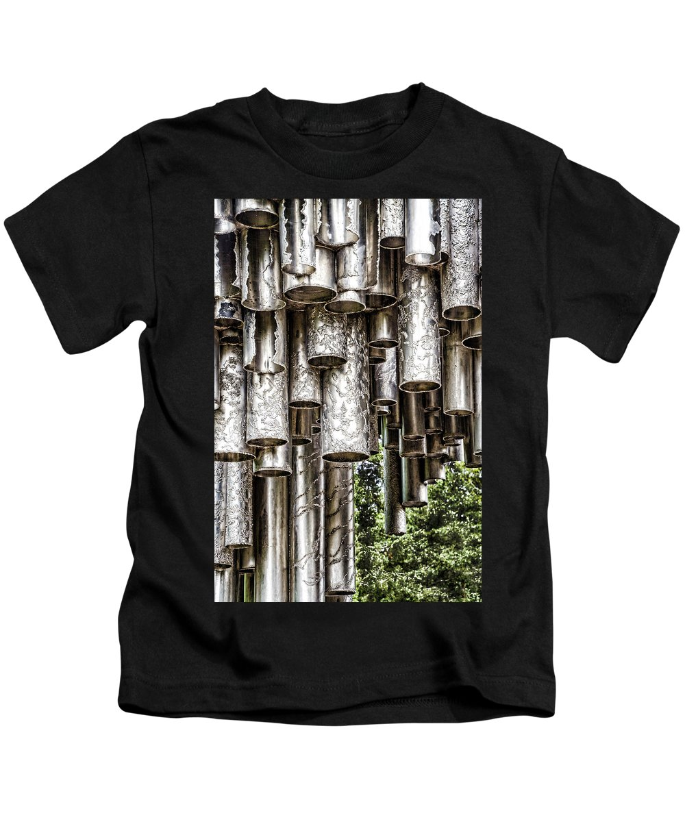 Sibelius Monument Kids T-Shirt featuring the photograph Sibelius Pipe Monument - Helsinki Finland by Jon Berghoff