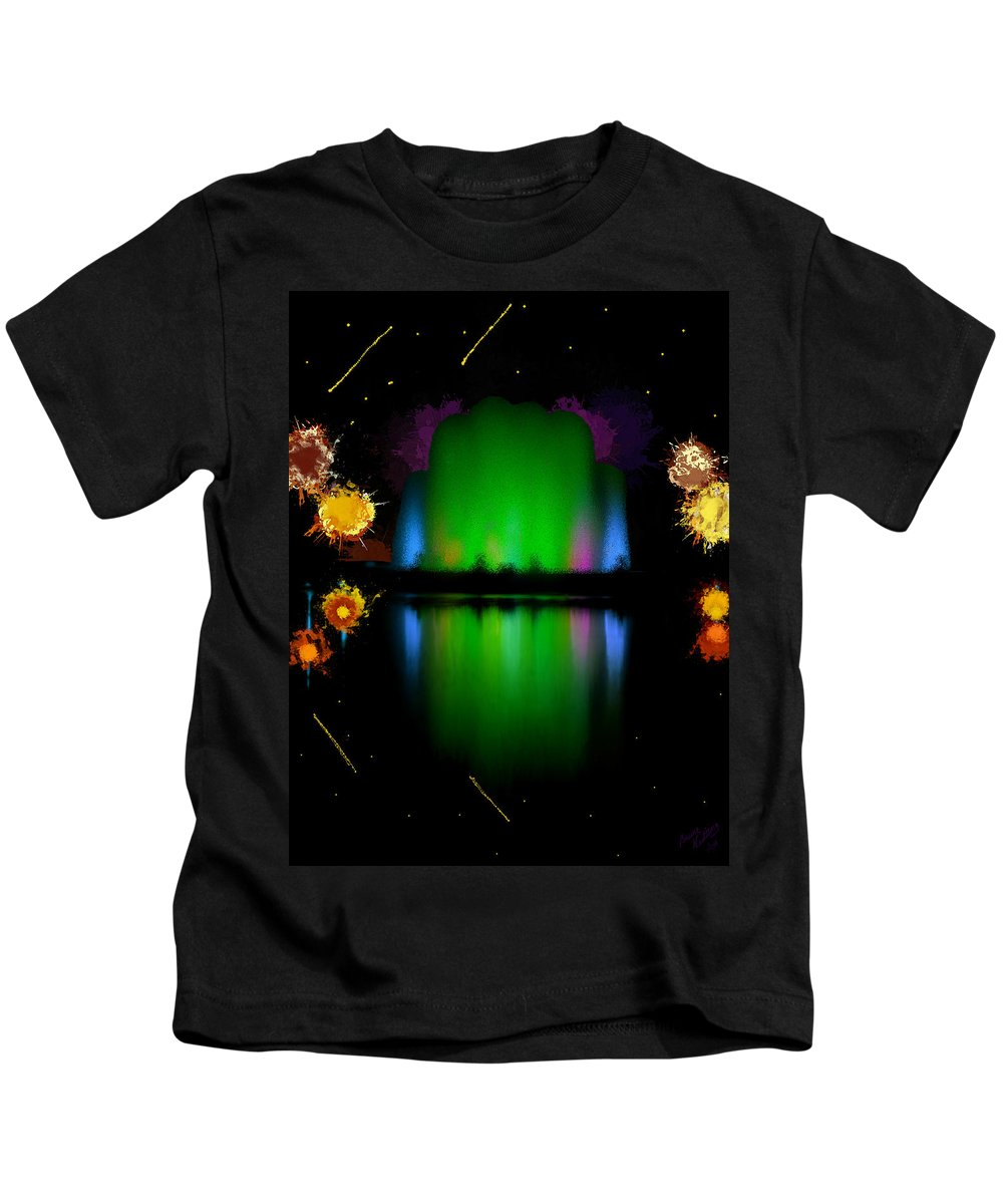 Colorful Kids T-Shirt featuring the painting The Electric Fountain by Bruce Nutting