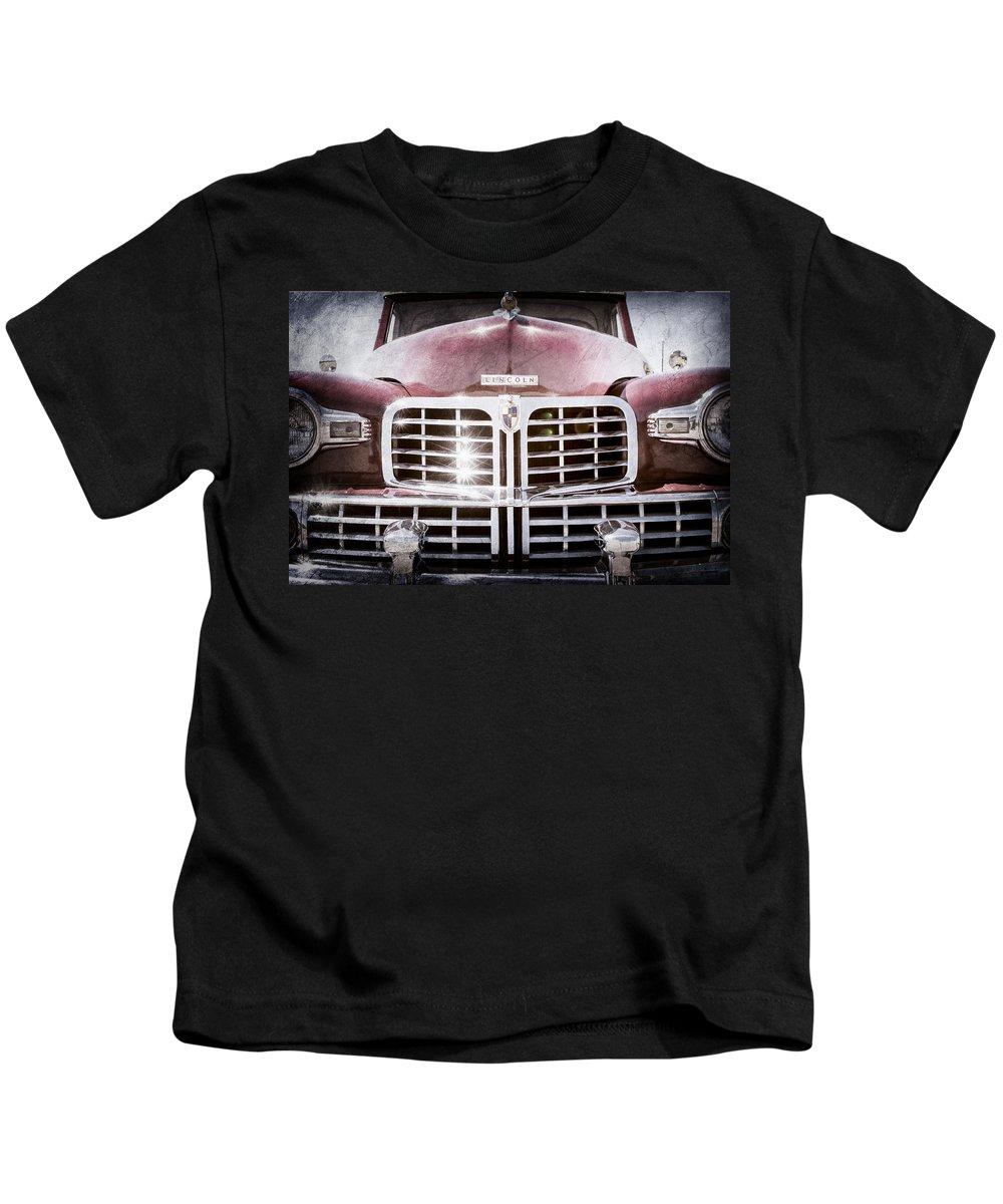 1948 Lincoln Continental Grille Emblem Kids T-Shirt featuring the photograph 1948 Lincoln Continental Grille Emblem by Jill Reger