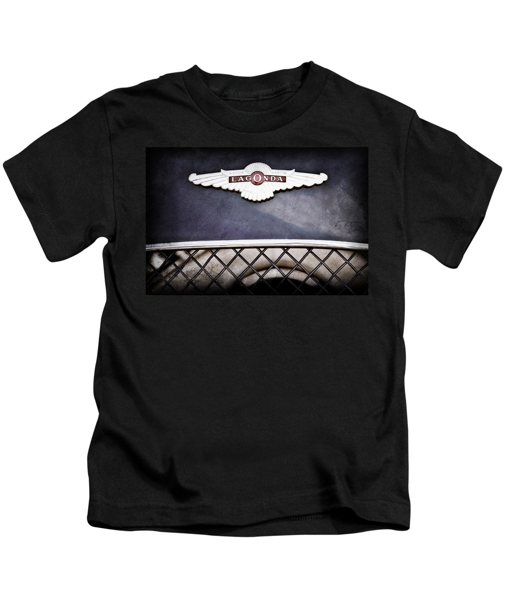 1959 Aston Martin Jaguar C-type Roadster Hood Emblem Kids T-Shirt featuring the photograph 1959 Aston Martin Jaguar C-type Roadster Hood Emblem by Jill Reger