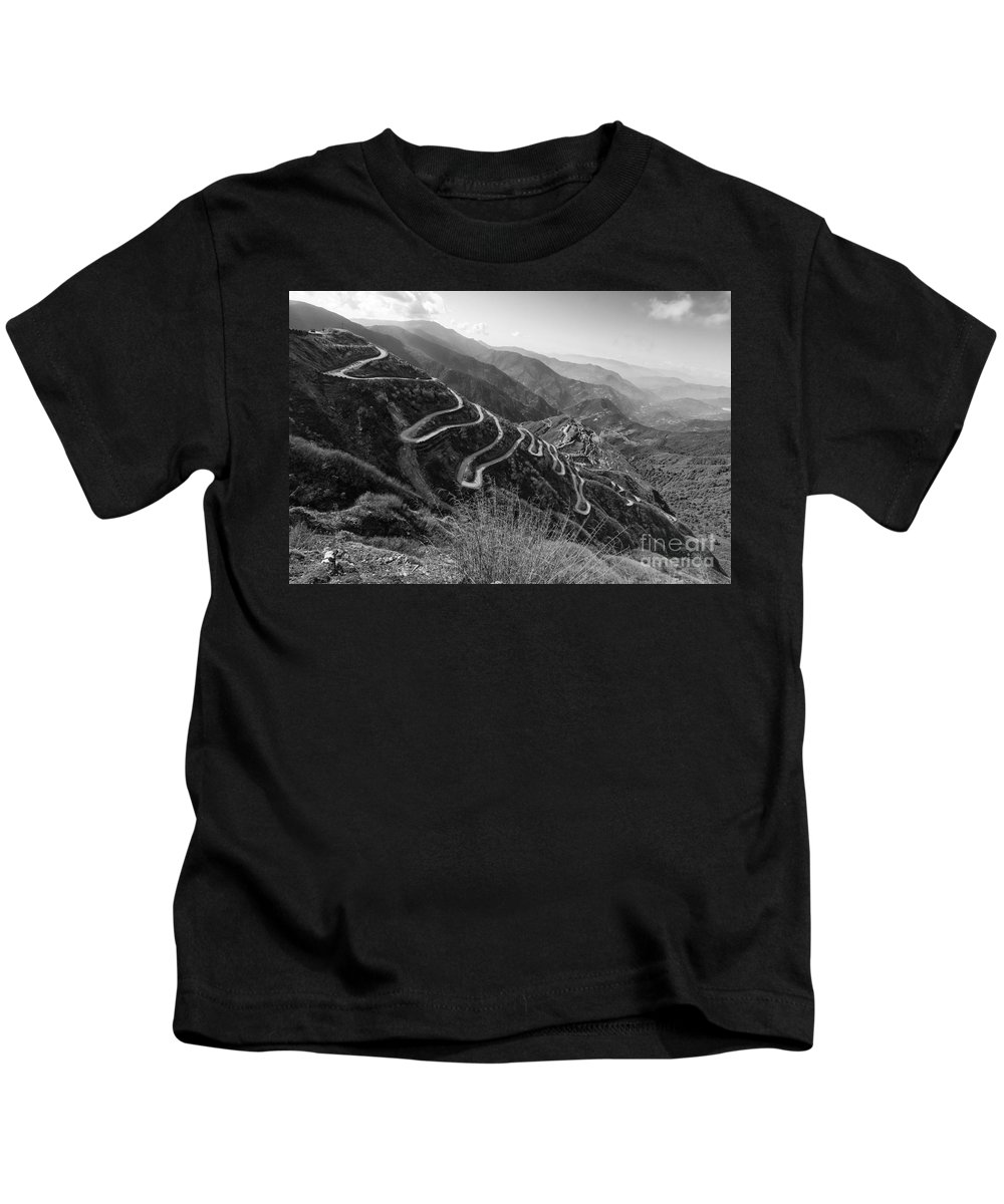 Road Kids T-Shirt featuring the photograph Curvy Roads Silk Trading Route Between China And India by Rudra Narayan Mitra