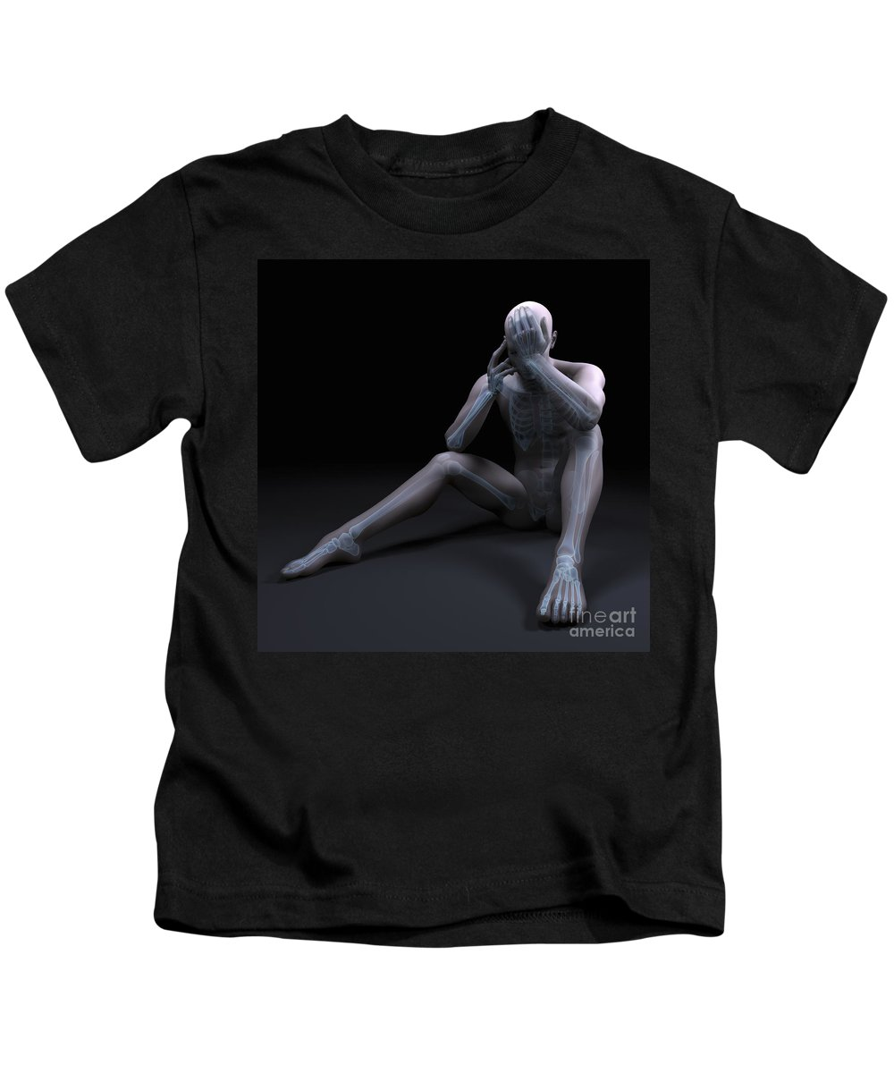 3d Visualization Kids T-Shirt featuring the photograph Depression by Science Picture Co