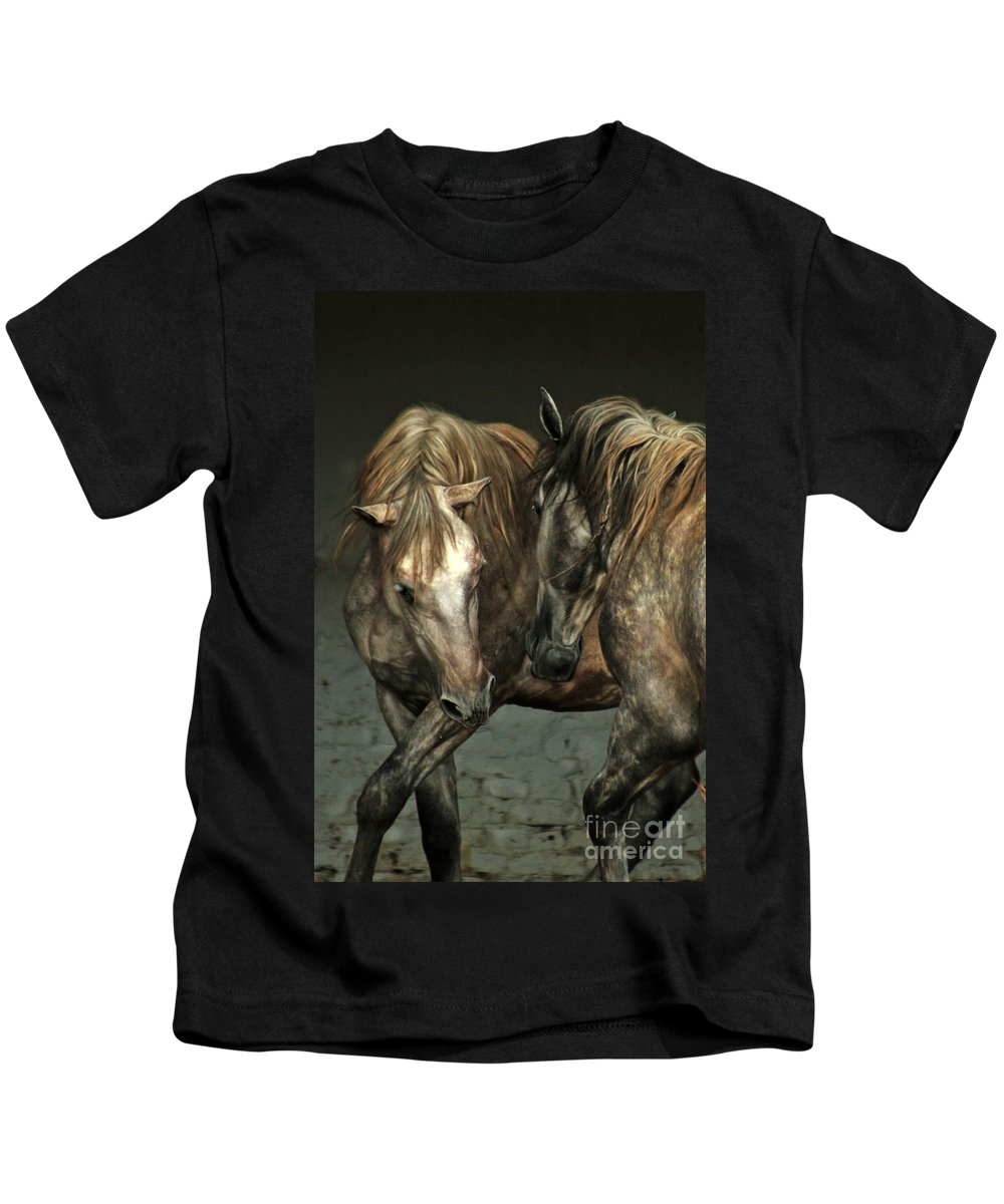 Horse Kids T-Shirt featuring the photograph Flamenco by Angel Ciesniarska